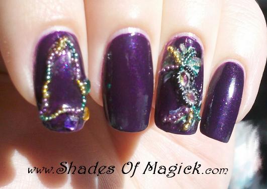 Nail Art Mardi Gras Style Shades Of Magick