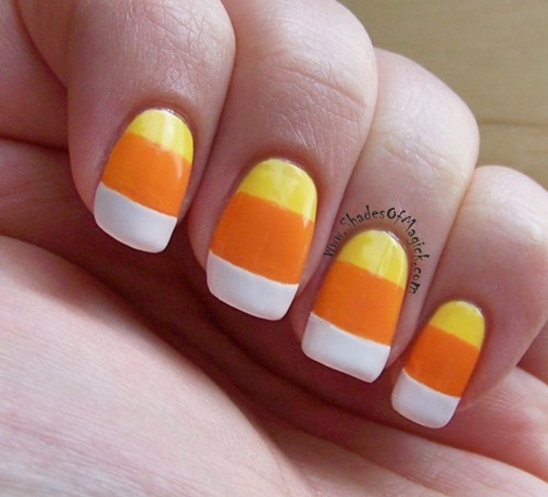 I started with the yellow (Hard Candy Splendid). I waited for that to dry,  then placed a french tip guide right where I wanted the orange to start. - 31 Days Of Halloween- Day 20: Candy Corn Nails Shades Of Magick